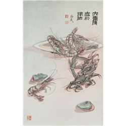 Chinese Watercolor on Paper Scroll Artist Signed