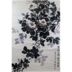 LI JINGXIAN Chinese Modern Watercolor Lotus Scroll