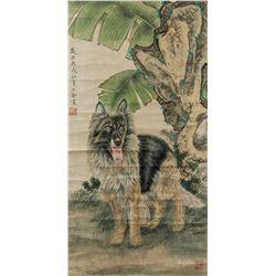 WANG SHENGJIN Chinese Modern Watercolor Dog Scroll