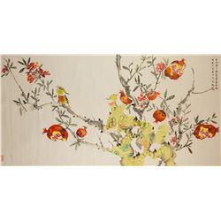 ZHOU WUSHENG Chinese 20th C. Watercolor Scroll