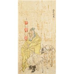 After JIN NONG Chinese 1687-1764 Watercolor Scroll