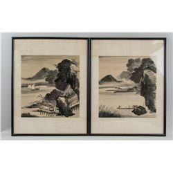 Pair Framed Korean/Chinese WC on Paper Landscape