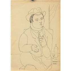 Attr. FERNANDO BOTERO Colombian b. 1932 Ink/Paper