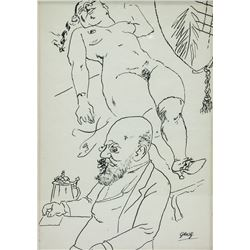 Attr. GEORGE GROSZ German 1893-1959 Ink on Paper