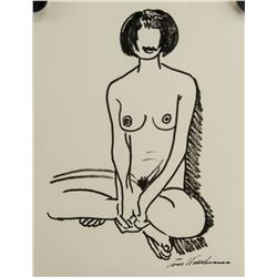 American Artist Signed Ink on Paper Nude