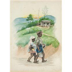 GLORIA HEIGHINGTON Jamaican XX Watercolor on Paper
