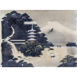 Japanese Watercolour Mountain Landscape