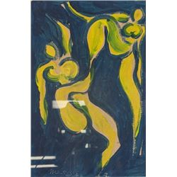 French Signed Henri Matisse Oil on Board Abstract