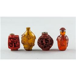 4 Assorted Chinese Glass and Lacquer Snuff Bottles