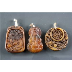 3 Assorted Chinese Hardstone Carved Pendants
