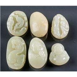 6 Assorted Chinese Hetian White Jade Carved Toggle