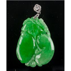 Burma Green Jadeite Carved Melon Pendant