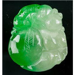 Burma Green Jadeite Carved Peach Pendant