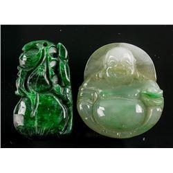 2 Assorted Burma Green Jadeite Carved Pendants