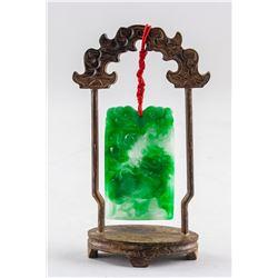 Burma Green Jadeite Carved Kirin Plaque w/ Stand