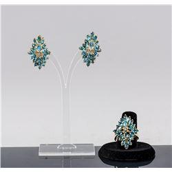14k Gold Aquamarine Diamond Earrings & Ring