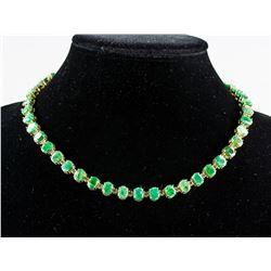 14k Gold 37.26ct Emerald & 3.23ct Diamond Necklace