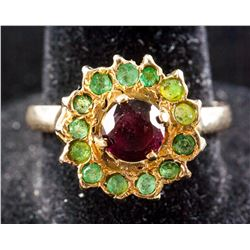 14k Gold Emerald & Ruby Ring