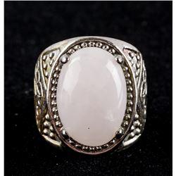White Jade Silver Ring