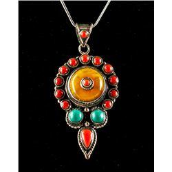 Multi Gem Silver Necklace
