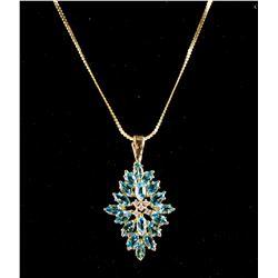 Sapphire & Diamond Pendant w/Necklace