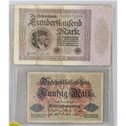 1914 and 1923 German Banknotes 2 PC