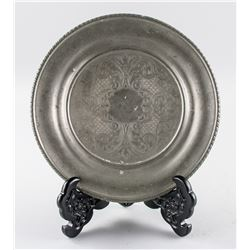 Italian Pewter Plate with Floral Pattern Carving