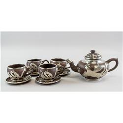 Chinese Zisha Silver Dragon & Phoenix Teaware MK