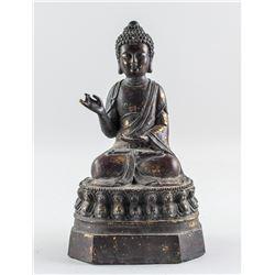 Chinese Gilt Bronze Cast Shakyamuni Buddha Statue