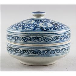 Chinese Ming Style Blue & White Porcelain Tea Case