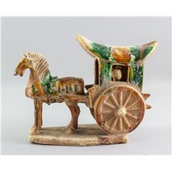 Chinese Tang Style Sancai Pottery Wagon Miniature