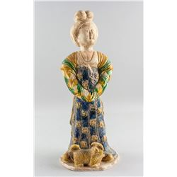 Chinese Tang Style Sancai Pottery Woman Statue