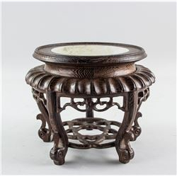 Chinese Wood and Marble Top Stand