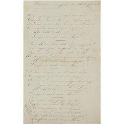 1832 Rare Song Lyric Manuscript