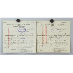 1912 Canadian Dominion Lands Interim Receipt 2 PC