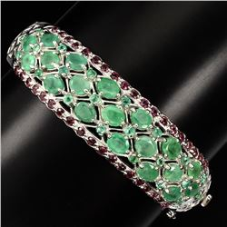 Natural Green Emerald & Garnet 129 Carats Bangle