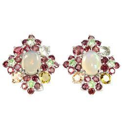 NATURAL OPAL TSAVORITE GARNET & TOURMALINE Earrings