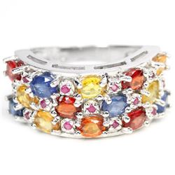 Natural  MULTI COLOR SAPPHIRE & RUBY Ring