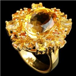 NATURAL 14X11 MM. OVAL ORANGISH YELLOW CITRINE Ring