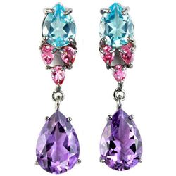Natural MULTI COLOR AMETHYST TOURMALINE Earrings