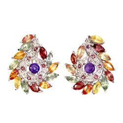 Natural Fancy Color Sapphire Amethyst Garnet Earrings