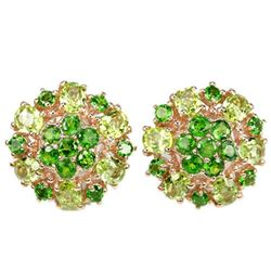 NATURAL GREEN CHROME DIOPSIDE & PERIDOT Earring