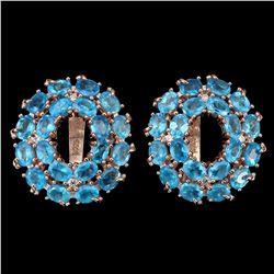 Natural Rare Brazil AAA Neon Blue Apatite Earrings