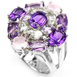 MULTI COLOR AMETHYST & ROSE QUARTZ RING