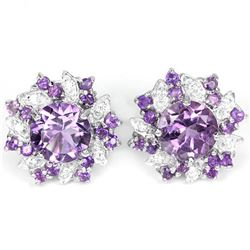 Natural Brazil Amethyst Stud Earrings