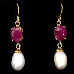 Natural Pearl & Ruby Earrings