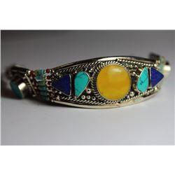 Tibet Amber Turquoise Lapiz Lazuli & Coral Bracelet