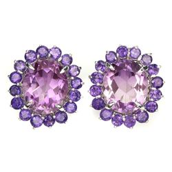 Natural Ametrine Quartz & Amethyst Earrings