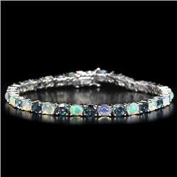 Natural RAINBOW OPAL & LONDON BLUE TOPAZ Bracelet