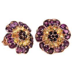 NATURAL MULTI COLOR CITRINE RHODOLITE GARNET Earrings